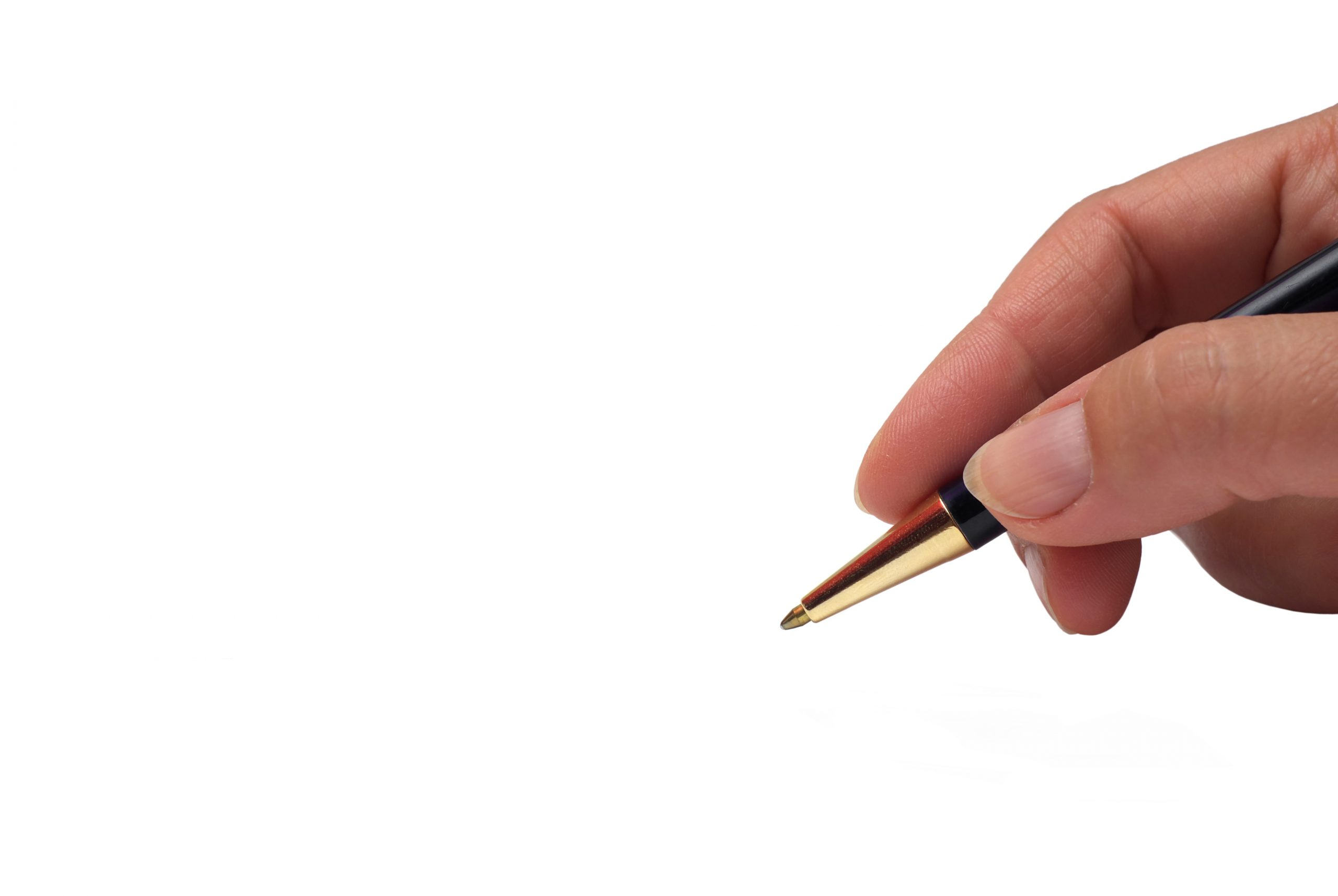 Hand with pen signing on white background. Isolated on white background